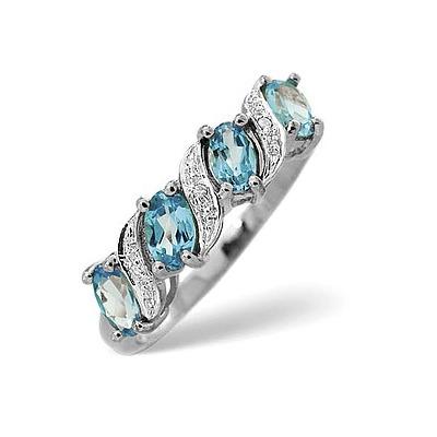 Blue Topaz 0.98CT And Diamond 9K White Gold Ring