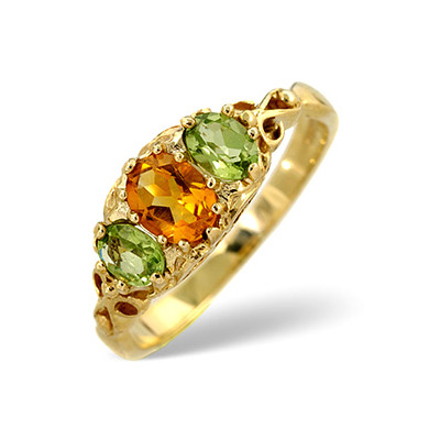 Golden Citrine And Peridot 9K Yellow Gold Ring