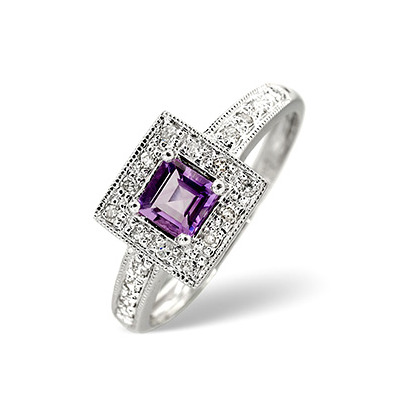 Amethyst 0.35ct And Diamond 9K White Gold Ring