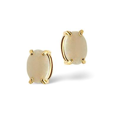 Opal 7 x 5mm 9K Yellow Gold Earrings