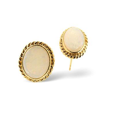 Opal 9 x 7mm 9K Yellow Gold Earrings
