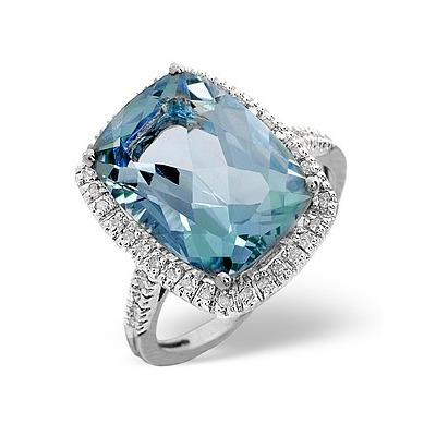 Blue Topaz 6.83CT And Diamond 9K White Gold Ring