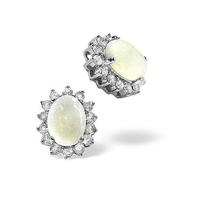 Opal 7 x 5mm And Diamond 9K White Gold Earrings
