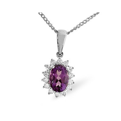 Amethyst 7 x 5mm And Diamond 9K White Gold Pendant