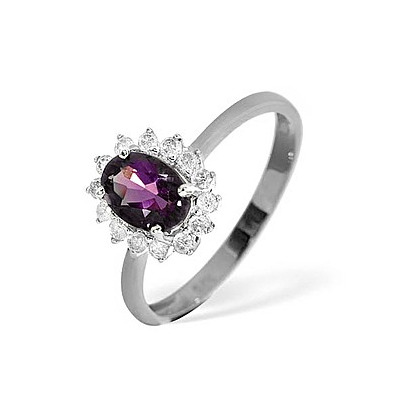 Amethyst 0.70ct And Diamond 9K White Gold Ring