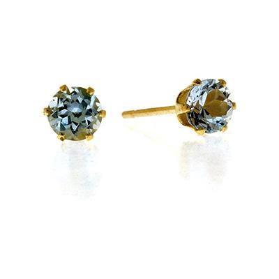 Blue Topaz 4mm 9K Yellow Gold Earrings
