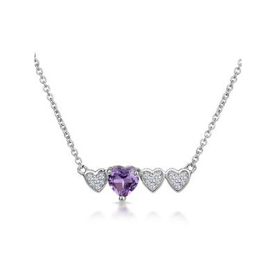 Amethyst and Diamond Stellato Heart Necklace in 9K White Gold