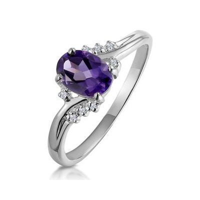 Amethyst 0.68ct And Diamond 9K White Gold Ring