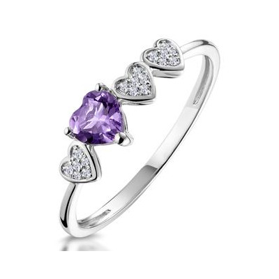 0.33ct Amethyst and Diamond Stellato Ring in 9K White Gold