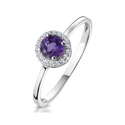 0.37ct Amethyst and Diamond Stellato Ring in 9K White Gold