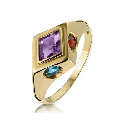 Amethyst Citrine Blue Topaz and Garnet Signature Ring in 9K Gold