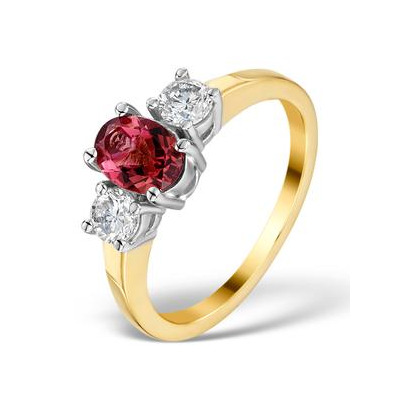 Pink Tourmaline 0.80CT and Diamond Ring in 18K Gold - FET23