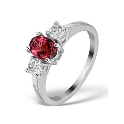 Pink Tourmaline 0.80CT  and Diamond Ring in 18K White Gold - FET23