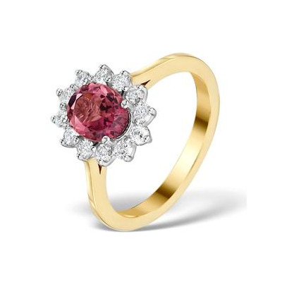 Pink Tourmaline 1.15CT and Diamond 18K Gold Ring - FET26