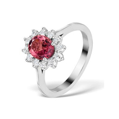 Pink Tourmaline 1.15CT and Diamond Ring 18K White Gold - FET26