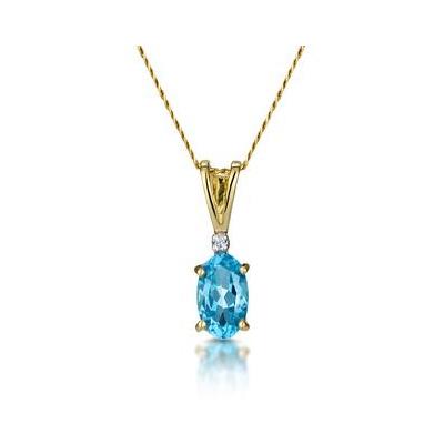 Blue Topaz 0.50CT And Diamond 9K Yellow Gold Pendant
