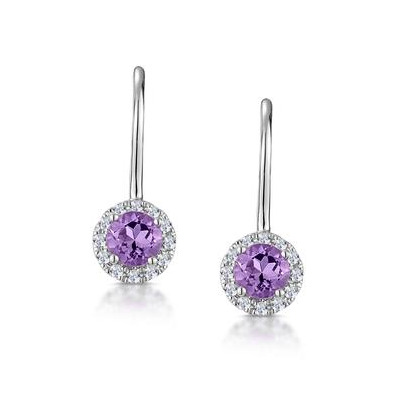 Amethyst 0.57CT And Diamond 9K White Gold Earrings