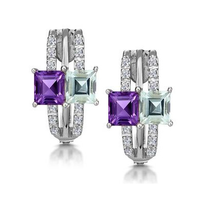 Princess Amethyst and Diamond Earrings in 9K White Gold