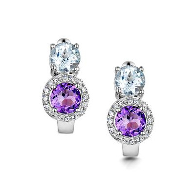 Amethyst Blue Topaz and Diamond Stellato Earrings in 9K White Gold