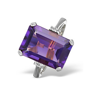 Amethyst 6.40ct And Diamond 9K White Gold Ring