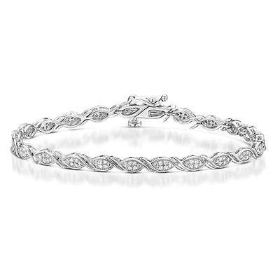 0.36ct Diamond and Silver Twist Detail Bracelet