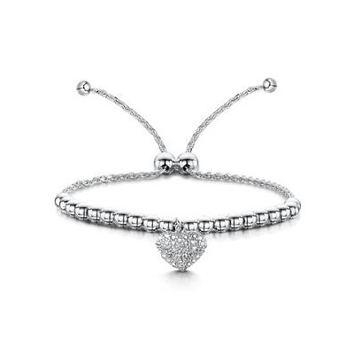 Allura Collection Beads and Pave Heart Diamond Bracelet in 925 Silver