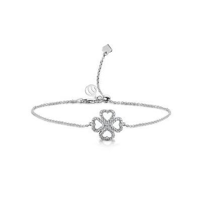 Allura Collection Clover Pave Diamond Bracelet Set in 925 Silver