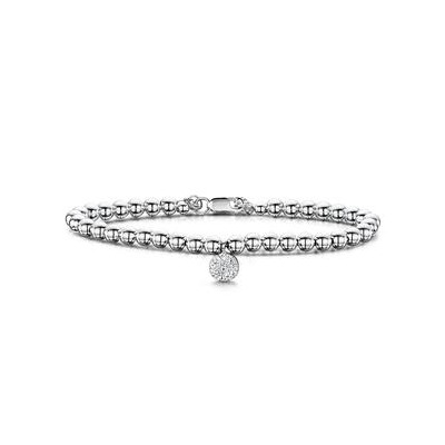 Beads and Pave Circle Diamond Allura Bracelet 0.01ct in 925 Silver