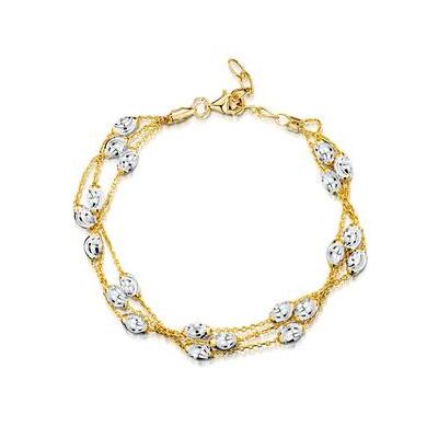Two Tone Triple Strand Tesoro Bracelet with Moon Beads in 925 Silver
