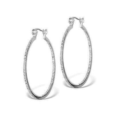 Diamond Hoop Earrings 35mm in Sterling Silver - Ug3237