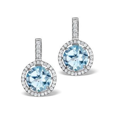 Blue Topaz and White Topaz Earrings in Sterling Silver - UG3244