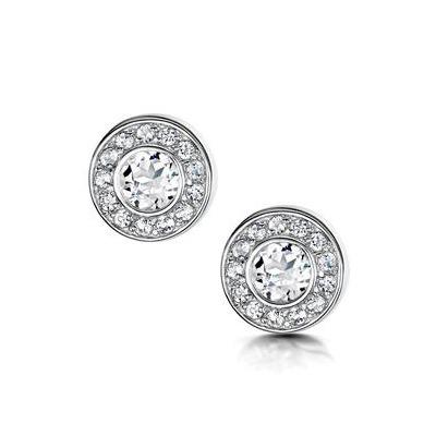Tesoro Collection Round Bezel Set White Topaz Earrings in 925 Silver