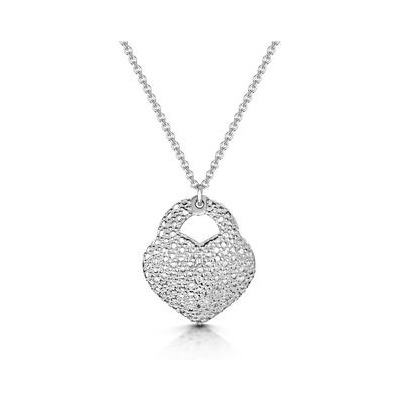 Allura Collection Pave Heart Diamond Necklace in 925 Silver