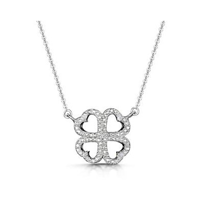 Allura Collection Clover Design Diamond Necklace in 925 Silver