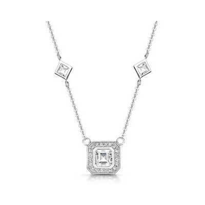 Princess White Topaz in Bezel Setting Tesoro Necklace in 925 Silver