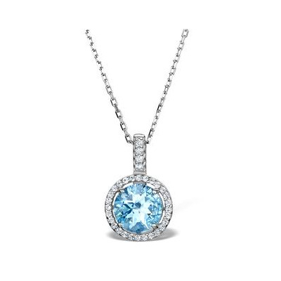 Blue Topaz and White Topaz Necklace in Sterling Silver - UR3232