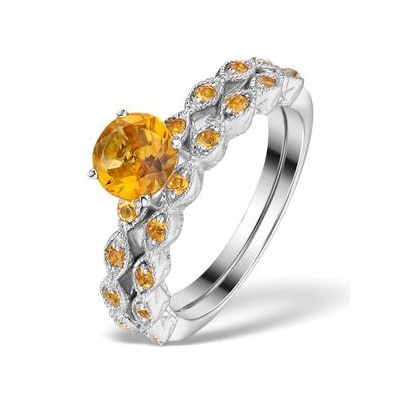 Stacking Ring Set Citrine  in Sterling Silver - UT33220