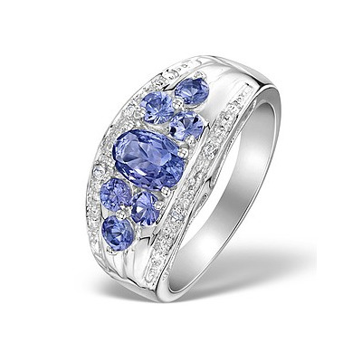 White Topaz  and 1.39 Carats  AA Tanzanite 925 Sterling Silver Ring