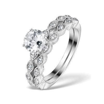 Stacking  Ring Set White Topaz in Sterling Silver - UT33232