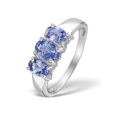 1.63 Carats  AA Tanzanite and 925 Sterling Silver Ring