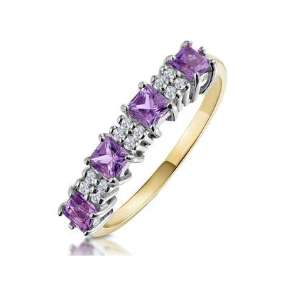 Amethyst 0.56ct And Diamond 9K Gold Ring