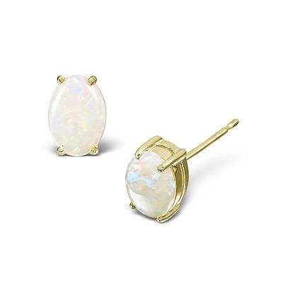 Opal 7 x 5mm 18K Yellow Gold Earrings