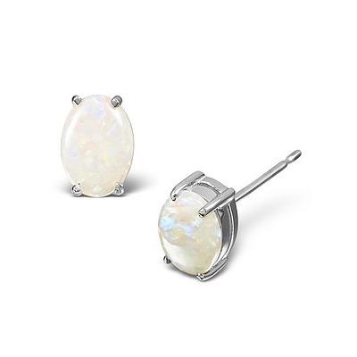 Opal 7 x 5mm 18K White Gold Earrings