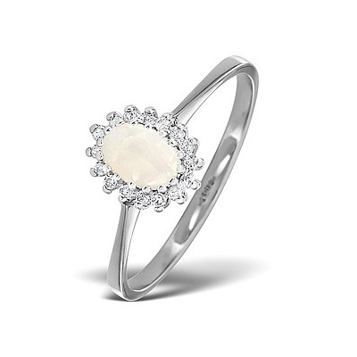 Opal 6 x 4mm And Diamond 9K White Gold Ring
