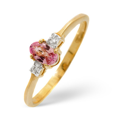 0.28CT Pink Sapphire And Diamond Ring 9K Yellow Gold