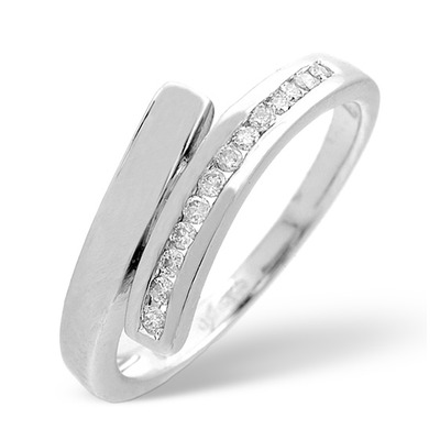 Diamond 0.10CT 9K White Gold Cross-Over Ring