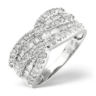 Diamond 1.00CT 18K White Gold Cross-Over Ring
