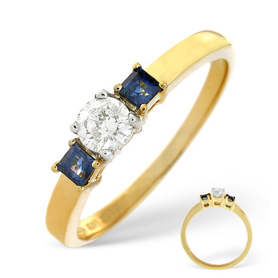 Diamond 0.25ct And Sapphire 18K Gold Ring