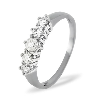 Ellie 18K White Gold 5 Stone Diamond Eternity Ring 0.50CT