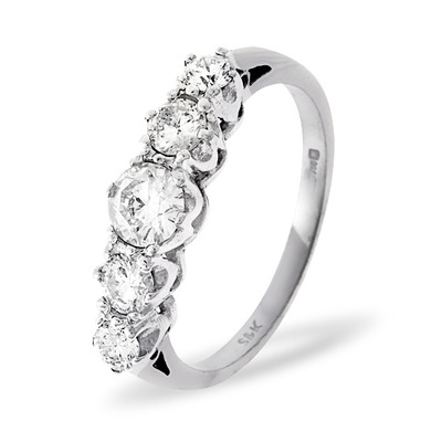 Grace 18K White Gold 5 Stone Diamond Eternity Ring 0.33CT